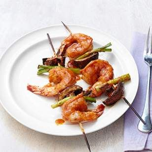 Try this Thai shrimp skewer recipe alongside quinoa and stir-fried broccoli or double or triple the recipe and serve the kebabs as a party appetizer.