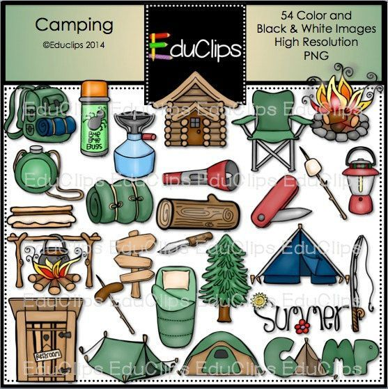 Camping Clip Art Bundle Color And BW