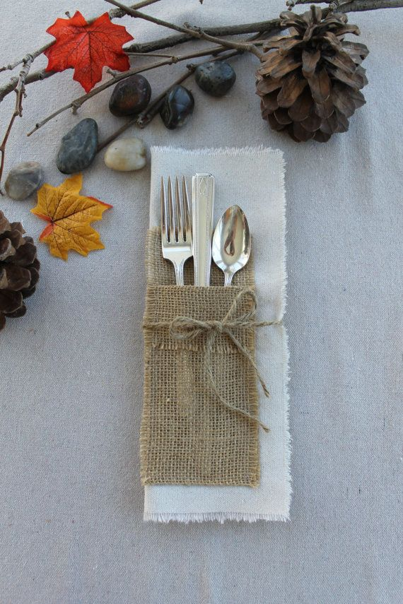 burlap pocket sewn onto fabric for silverware place setting for vintage wedding reception table top decor