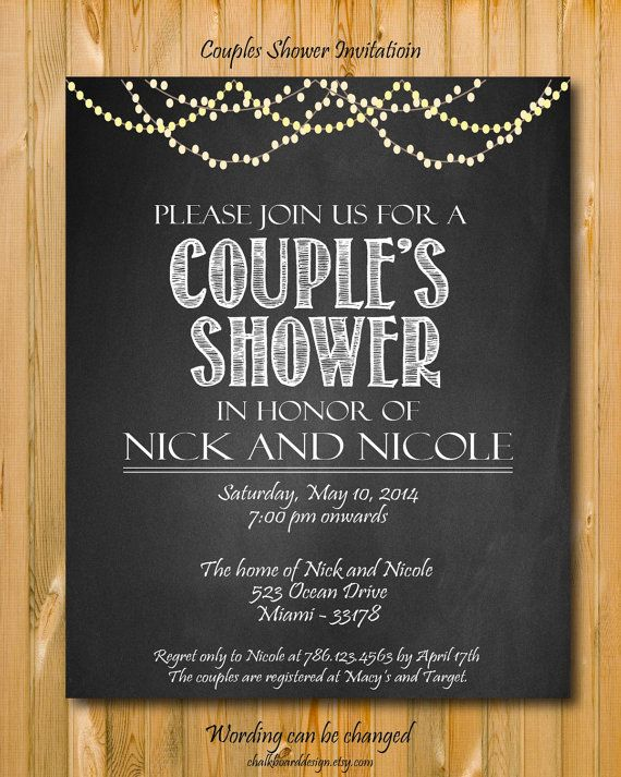 Printable Couples Shower invitation custom by chalkboarddesign