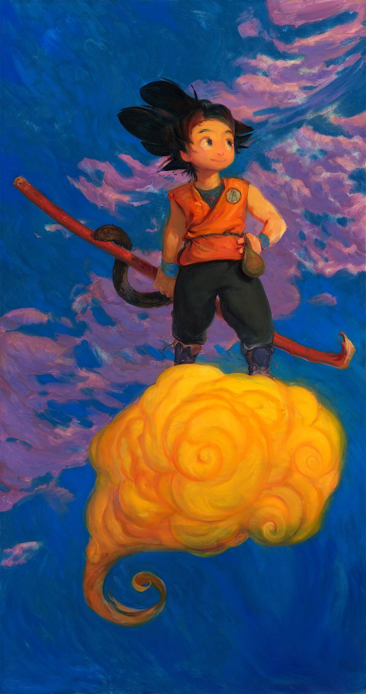 ArtStation - Wonder Boy Son Goku ___ 4ft OIL PAINTING, Andrew Theophilopoulos