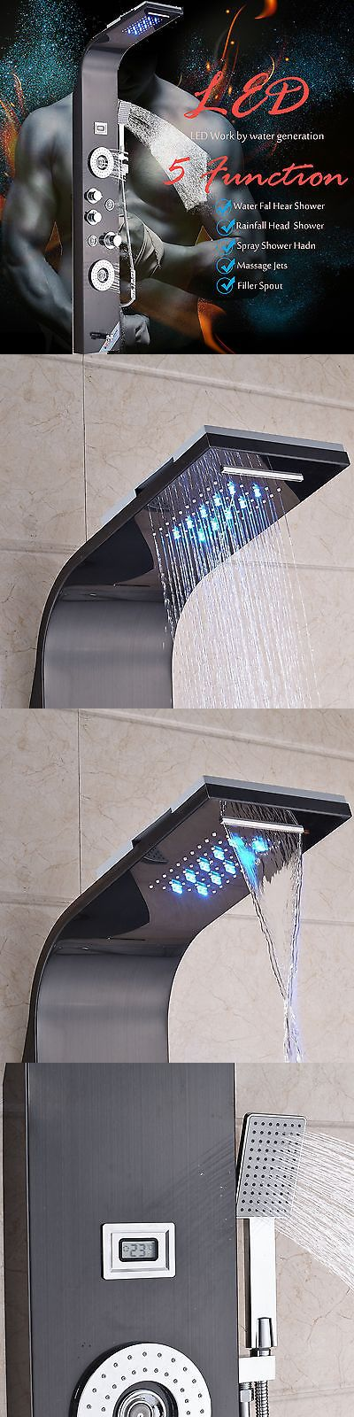 Massagers: Led 60 Brushed Black Bathroom Shower Panel Column Faucet Massage Spa Jets -> BUY IT NOW ONLY: $276.08 on eBay!