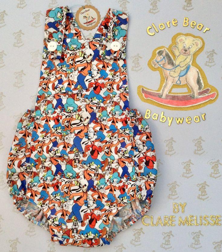 Costume Romper tissu tissu Goofy, vêtements de bébé, bébés unisexe fait main personnalisé, garçons filles, tenue de garçon fille Tenues pour enfants, le caractère des enfants   – Lily