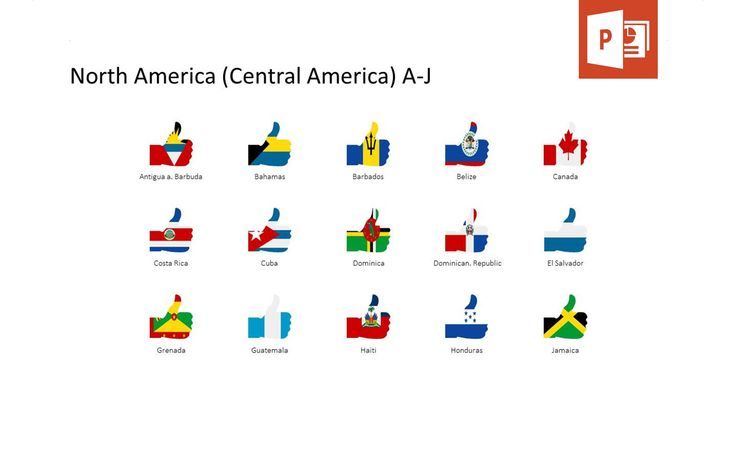Try our flags in form of a thumb up gesture to make country-specific analysis in your PowerPoint presentation.