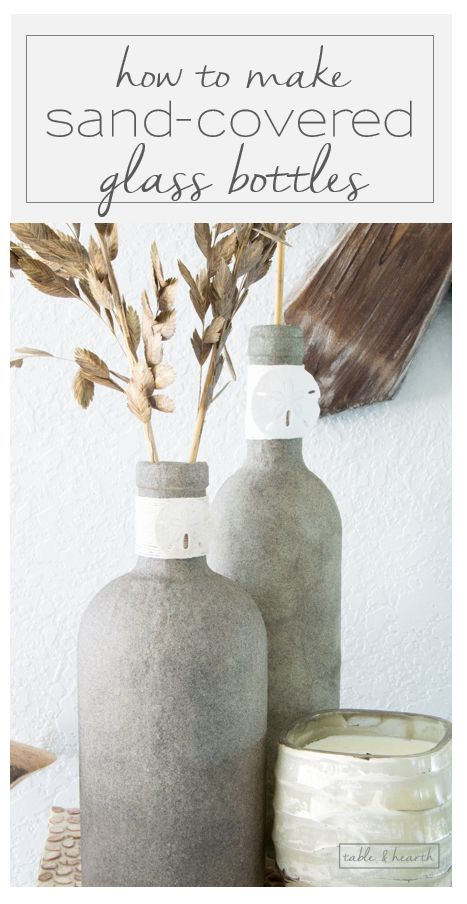 Who knew you could Mod Podge sand?! These beachy sand covered bottles are quick…