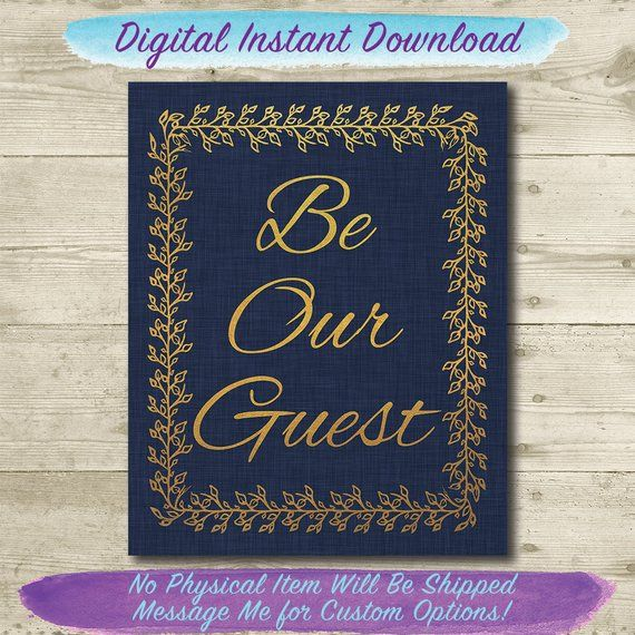 Beauty And The Beast Wedding Be Our Guest Disney Wedding Sign