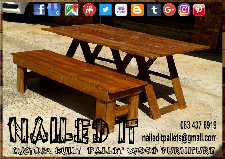 Pallet wood trestle table & bench combo. Teak finish #trestletables #trestletable #trestletableandbench #trestletableandbenchset #pallettrestletable #pallettrestletableandbench #customfurniture #custompalletfurnituredurban #palletfurniture #palletwoodtable #palletwoodfurnituredurban #palletwoodfurniture #naileditcustombuiltpalletfurniture #nailedcustompalletfurniture