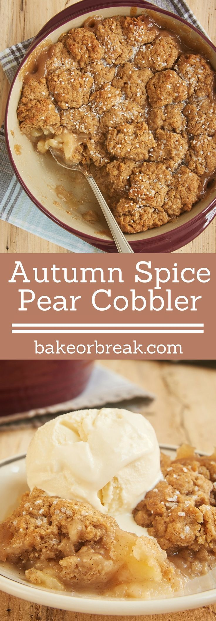 Sweet pears and a wonderful, warm blend of spices combine for this simple and delicious Autumn Spice Pear Cobbler. - Bake or Break ~ http://www.bakeorbreak.com
