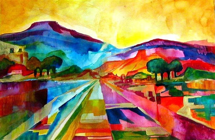 Maleita Wise watercolor landscape  quilt inspiration