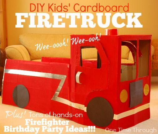 Today's post describes how to make a cardboard firetruck for pretend party play. This is the first of a 4-part series on a FireFighter 3rd Birthday Party!