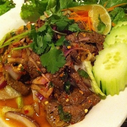 Nam Tok Nuer Spicy Beef Salad Thai Food Real Authentic Thai Pinterest Beef Spicy And