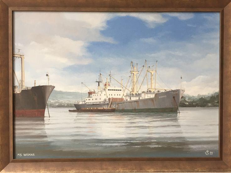 """MS """"Wismar"""", Typ Afrika, Deutsche Seereederei Rostock ( DSR ), beim Holzladen in Westafrika, gemalt von Marinemaler Holger Hartleb"""