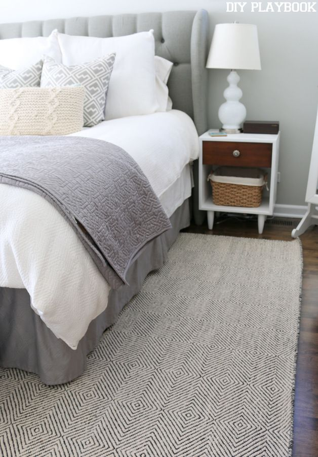 Neutral rug from Rugs USA for this master bedroom space.