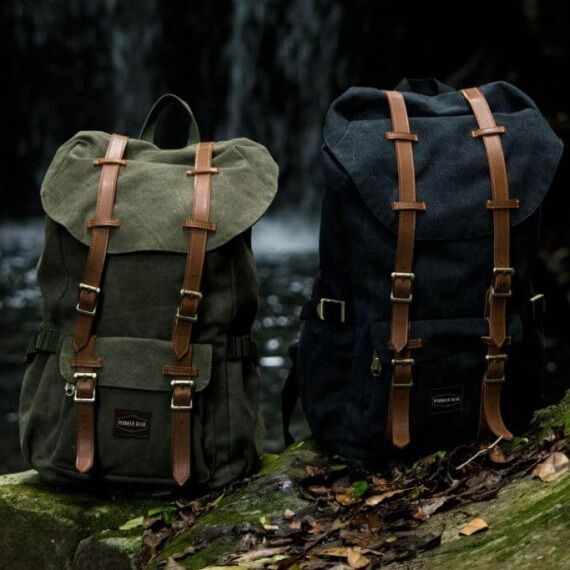 Vintage canvas and leather backpacks