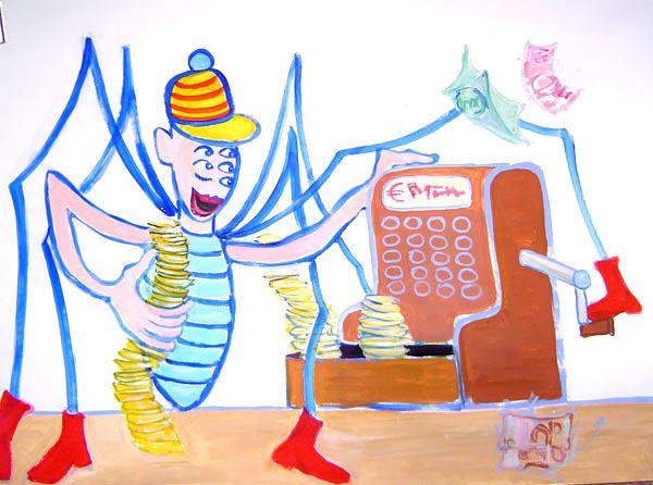 """Anansi - een geschilderde animatie over de slimme listen van Anansi.  Animatiefilm: """"Het rinkelen van de kassa"""" 7 min. Camera en montage: Mona Veld. Schildering en muziek: Edward Brantsen  Stem en verhaal: Stephanie van Seventer  Met educatieve opdrachten:  Opdrachten bij de korte animatiefilm.   Opdrachten: Knutselen.   Opdrachten: Anansi verhaal schrijven.   Opdrachten: Anansi verhaal verbeelden.   Opdrachten: Anansi in Scene"""