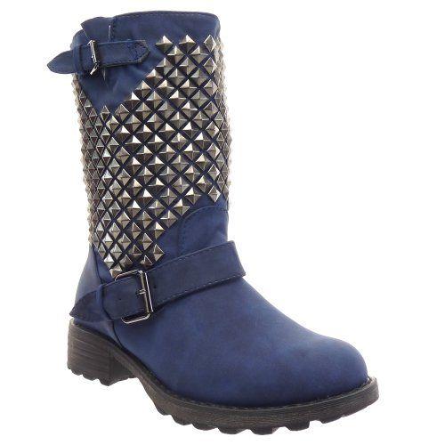 In Offerta! #Offerte Abbigliamento#Buoni Regalo   #Outlet Kickly - Scarpe da Moda Stivaletti - Stivali Scarponi al polpaccio donna borchiati quadrata piramide Tacco a blocco 3.5 CM - Blu disponibile su Kellie Shop. Scarpe, borse, accessori, intimo, gioielli e molto altro.. scopri migliaia di articoli firmati con prezzi da 15,00 a 299,00 euro! #kellieshop #borse #scarpe #saldi #abbigliamento #donna #regali