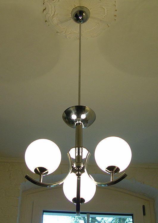 Antike Decken Hänge Lampe 3arm Chrom orig. um 1930