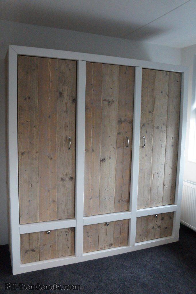 Afbeeldingsresultaat voor kledingkast steigerhout