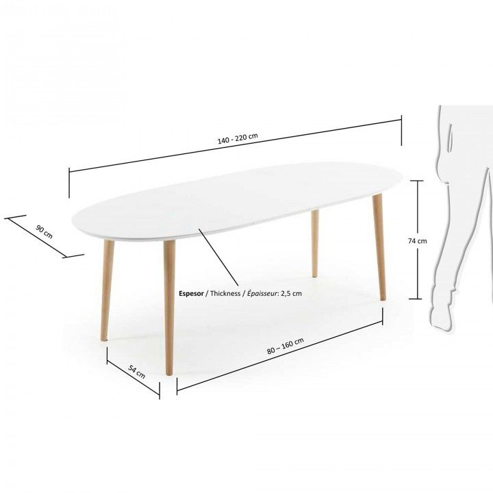 Table Oqui ovale extensible 140-220 cm, naturel et blanc | Kavehome France – #homemoments