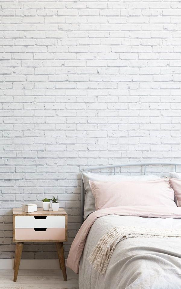 Clean White Brick Wallpaper Mural In 2020 White Brick Wallpaper Brick Wallpaper Bedroom Brick Bedroom