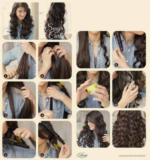 How to curl hair with wand Step by step Hair Pinterest