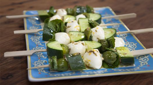 Good Chef Bad Chef - Recipe Detail Bocconcini and Sicilian Olive Skewers