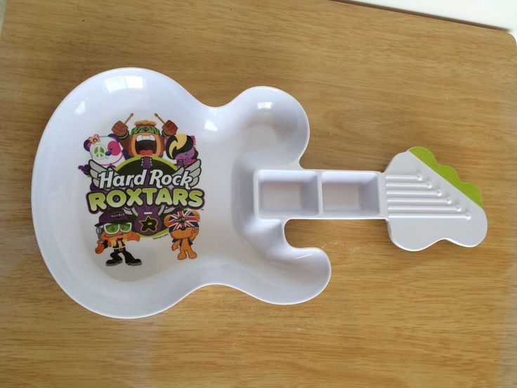 Hard Rock Cafe Kids Guitar Shaped Plate X 2 Roxtars Dips White Melamine Plastic