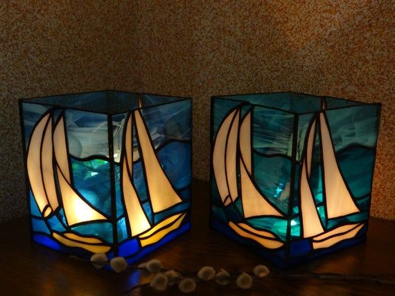 Sailboat Stained Glass Boat Candle Holder Light Box Lantern Handmade Tealight Nightlight Nautical Decor Illumination Led Bedside Lamp Bote Cristal Lamparas Art Deco Lamparas De Tiffany