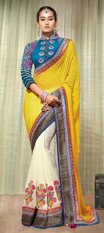 151808: #ColorBlock #partywear #wedding #saree #bridalwear #Georgette, Machine #Embroidery, Stone,