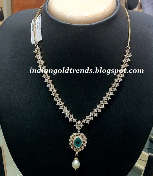 Latest Indian Gold and Diamond Jewellery Designs: Simple Diamond necklace design