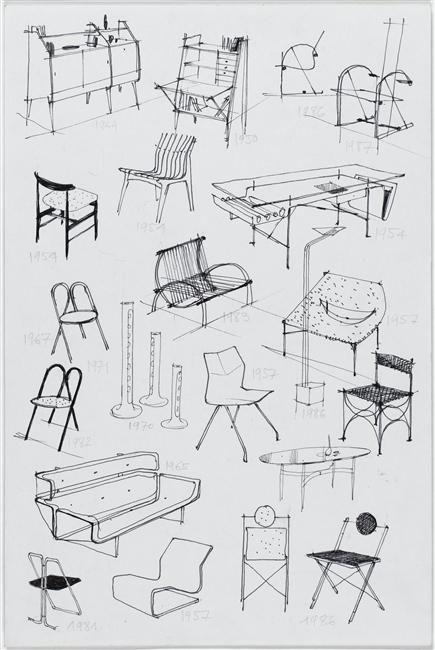 Jean-Rene Caillette, Croquis de 21 pièces de mobilier datées de 1949 à 1986