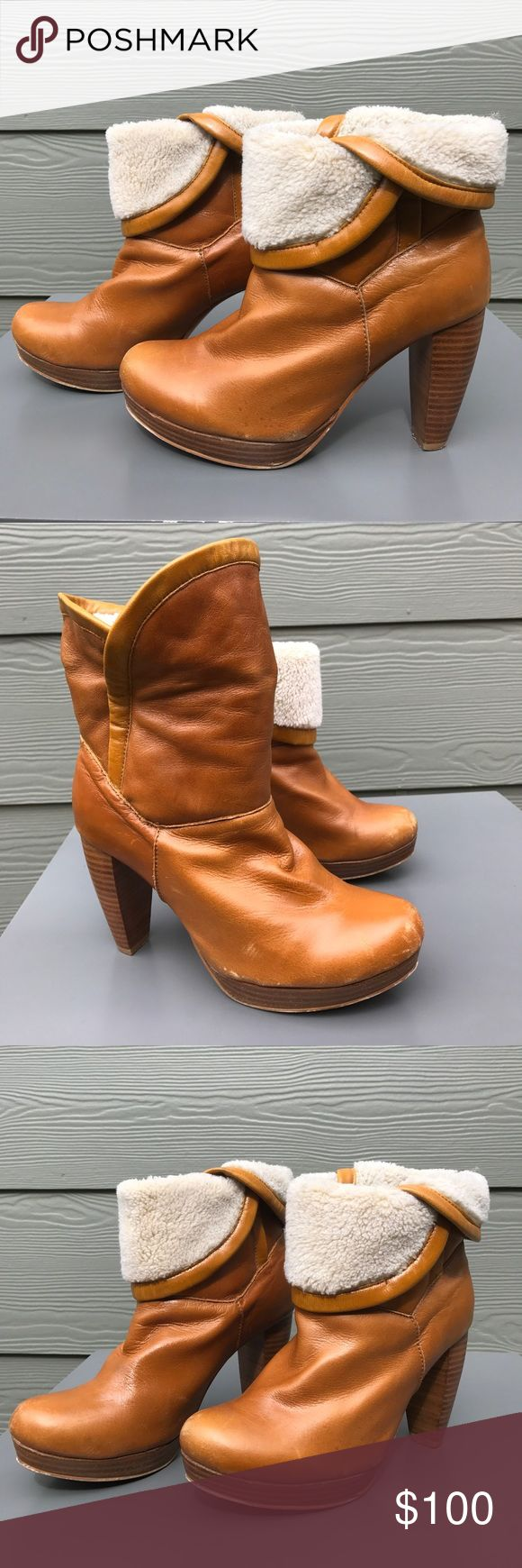 Charlotte Ronson Sherpa Camel Heeled Boots Charlotte Ronson Shearling Sherpa Lining Camel Leather High Heeled Boots. Can be worn up or folded over.. Top insole layer losing adhesive, easily glued back or put in new insoles. No significant wear in the heels. A few scratches in leather. Size 38 fits 7.5 or 8. Charlotte Ronson Shoes Heeled Boots