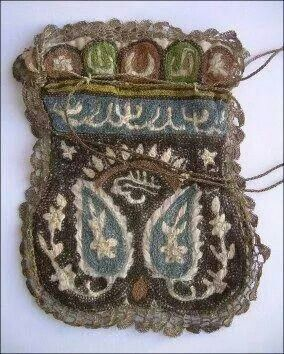 Late-Ottoman 'kese' (purse).  For men's tobacco.  Embroidered with various colours of silk + silver threads.  Late 19th century.