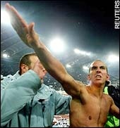 "Paolo di Canio is the new manager of Sunderland FC in England. He's also a self-avowed fascist and admirer of Mussolini, and repeatedly made the fascist salute while a player for Lazio. The player has, in his autobiography, praised Mussolini as ""basically a very principled, ethical individual"" who was ""deeply misunderstood"". Here's what Mussolini's government got up to in the war: http://www.guardian.co.uk/education/2001/jun/25/artsandhumanities.highereducation"