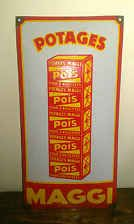 ANCIENNE PLAQUE EMAILLEE BOMBEE POTAGES MAGGI en vente ici
