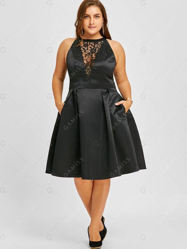 Womens Fashion Inspiration and Styles #ad #women Plus Size Lace Insert Sleeveless Swing Dress - BLACK 5XL