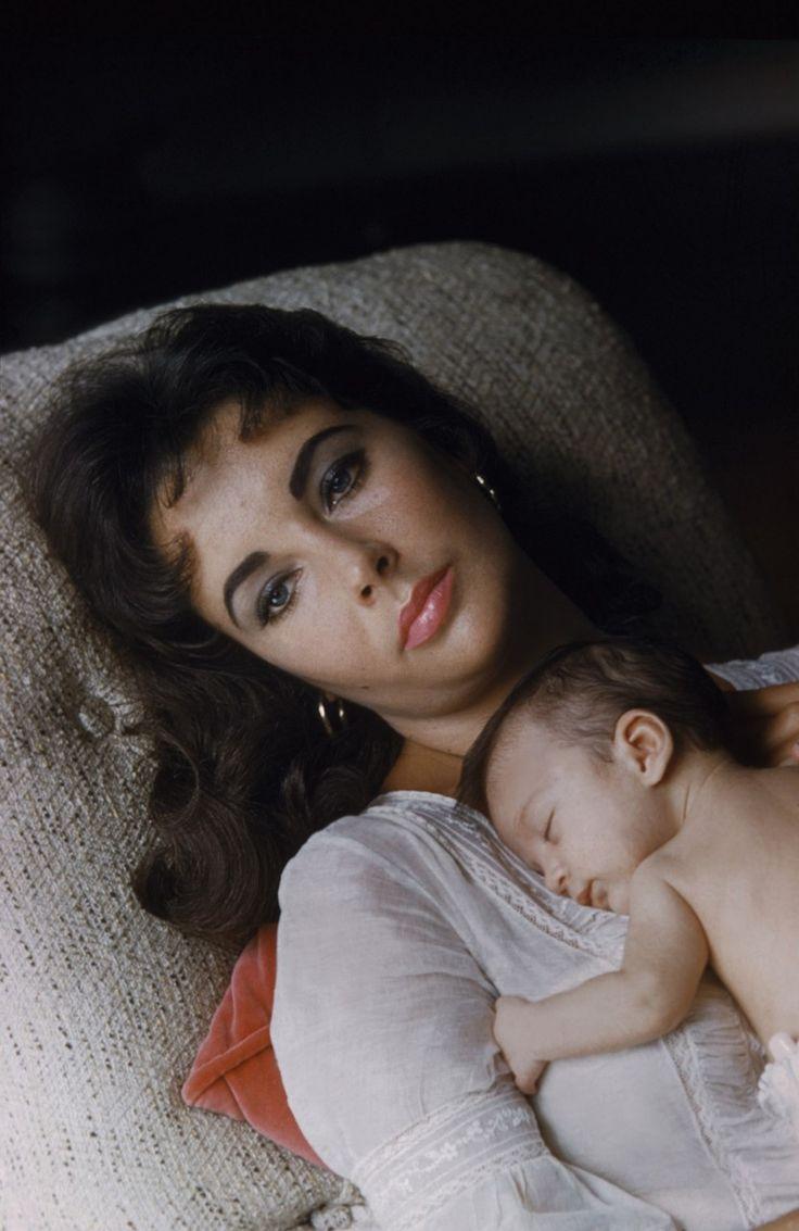 Elizabeth Taylor and newborn daughter, Liza Todd