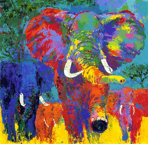 June 21, 2012 LeRoy Neiman passed away today and the world lost a great artist. I first remember seeing his work when he did all of the posters for the '76 Olympics and have admired it since. I adore this elephant print.