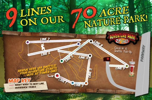 zip lines 60 + 1hr trail ride 80