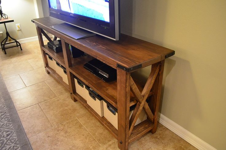Custom diy big screen tv stand brett 39 s custom woodworking pinterest stands woods and - Media consoles for small spaces plan ...