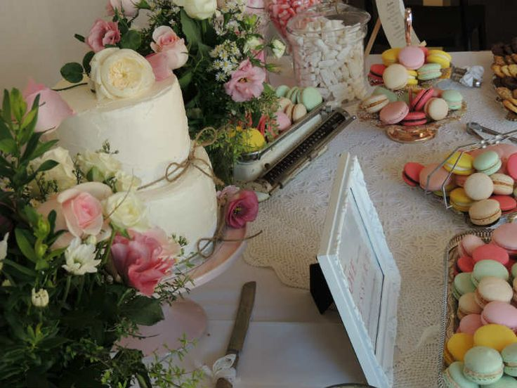 Once Upon A Pie | Vintage Wedding Dessert Table. Rustic Buttercream Wedding Cake and Macarons, Lollies and Cookies.