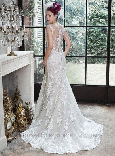 Slim Flare Lace and Tulle Gown | Wedding Dresses | Bridal Elegance