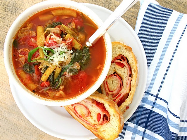 Veggie Soup with Pizza Bread