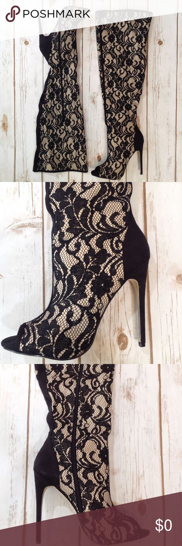 """🆕 Madison Thigh-High Heels (9-9.5) Madison by JustFab thigh-high heeled boots. Size 9.5. Fits a 9-9.5, IMO. Heel height is approx 4.5"""". Super SEXY! Features decorative lace material, open/peep-toe, floral pattern and a side zipper. Please use offer button for all offers and bundle for bigger discounts. Thanks! 💋 Madison Shoes Heels"""