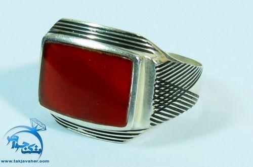انگشتر عقیق قرمز مردانه طرح مستطيل