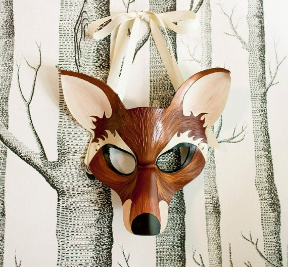 Fox Leather Mask Adult Size  Made to Order by SundriesAndPlunder, $75.00