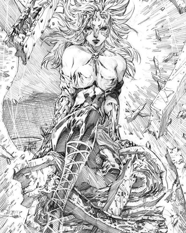 Polaris by Phillip Tan #XMen #mutants #Marvel #comics #pencil #art #sketch #commission #アメコミ #漫画