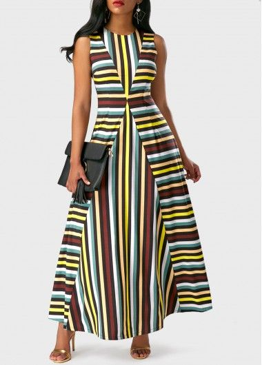 Sleeveless Stripe Print Round Neck Maxi Dress, fashion, sassy, modest, faster shipping and high quality, shop now.