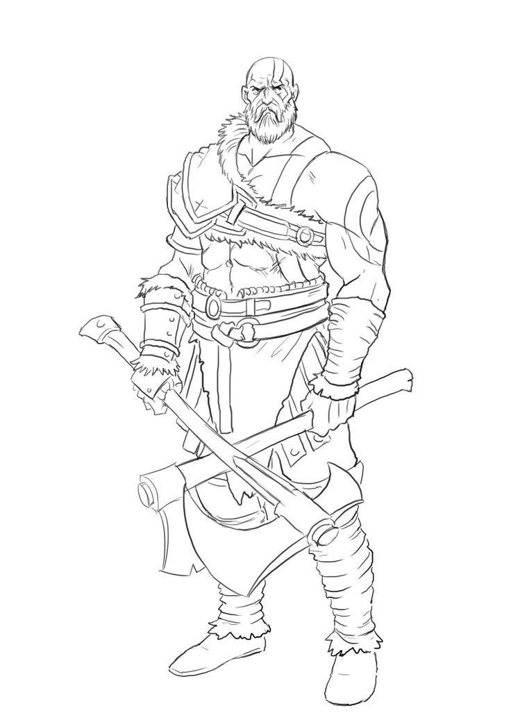 How To Draw Kratos : kratos, Kratos, Tutorial, Viking, Drawings