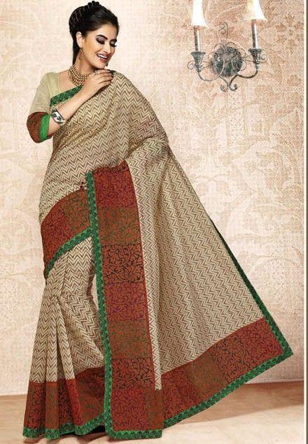 Cream Colored Bengal Cotton Handloom Saree